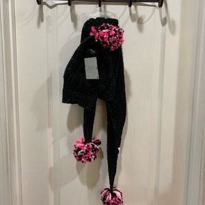 Capellini scarf, hat, & glove set black sparkly